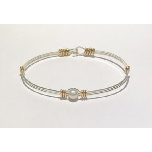 Custom Hand Crafted Sterling Silver Wire Bracelet with Fresh Water Pearl