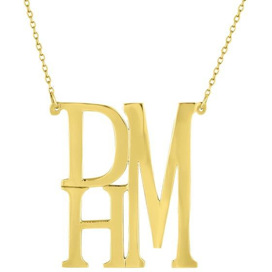 Gold Vermeill Stacked Monogram Necklace
