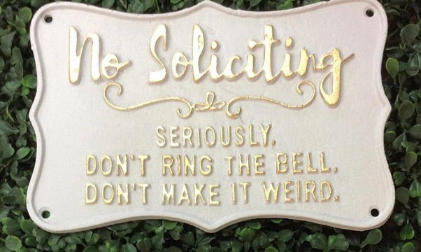White and Gold Cast Iron Sign - No Soliciting