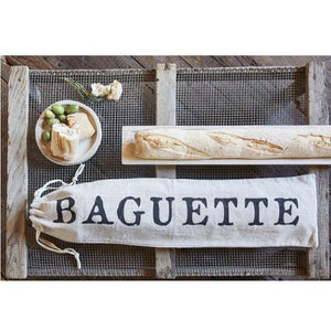 Linen French Bread Baguette Drawstring Bag/Pouch