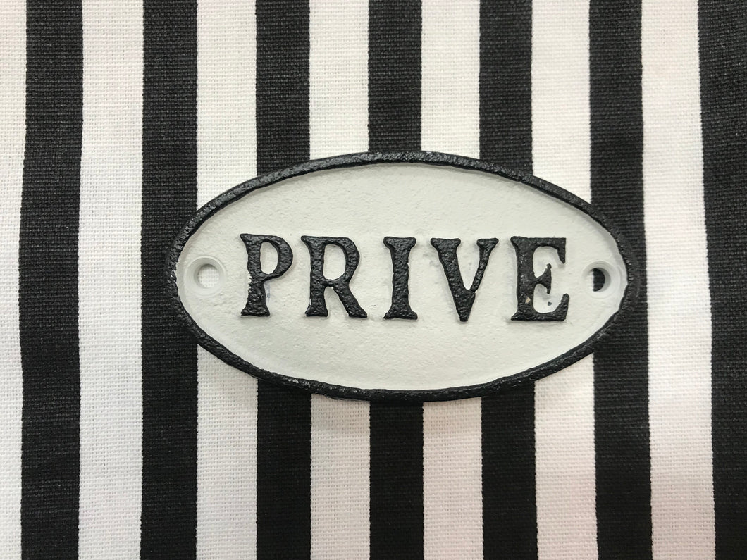 Cast Iron French Prive (Private) Door Sign