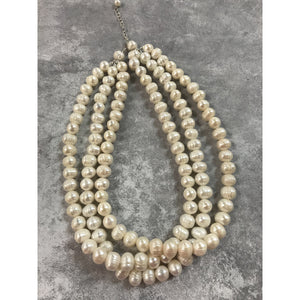 Triple Strand Fresh Water Pearl Necklace with .925 Sterling Silver Clasp