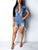 Solid Color Lapel Short Sleeve Button Ripped Frayed Hem Denim Romper