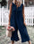 Button Neck Sleeveless Plain Casual Jumpsuit