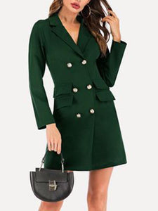 Solid Color V Neck Long Sleeve Double Breasted Elegant Blazer Dress