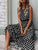 Round Neck Sleeveless Polka Dot Draped Casual Maxi Dress