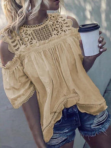 Round Neck Cold sleeve Solid Color Lace Hollow Pleated Blouse