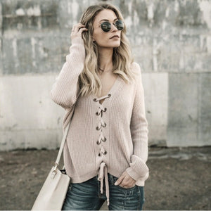 Solid Color Lace-Up Elastic Hem Knitted Loose Sweater