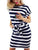 Women Half Sleeve Stripe Elastic Waist Pocket Ruffle Dress