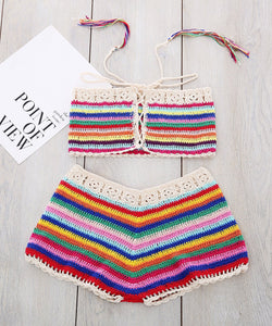 Sexy Handmade Knit Striped Bikini