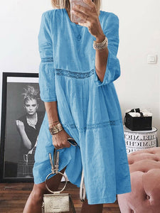 Bohemia Solid Color Round Neck Long Sleeve Hollow Out Casual Loose Midi Dress
