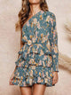 One Shoulder Floral Print Ruffles Belt Casual Mini Cake Dress