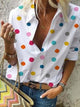 V Neck Long Sleeve Polka Dot Splicing Casual Blouse