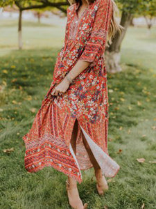 V Neck Long Sleeve Floral Printed Casual Maxi Dress