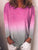 Women O-neck Casual Long Sleeve Gradient T-Shirt