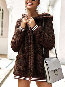 Oversized Fuzzy Fleece Long Sleeve Open Front Hooded Jacket