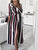 Lapel Long Sleeve Stripe Button Belt Casual Maxi Shirt Dress