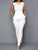 White V Neck Sleeveless Peplum Jumpsuit