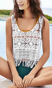 Summer Boho Crochet Tasseled Cover Up