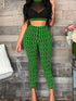 Casual O Neck Printed See-through Two-piece Pants Set