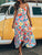 Spaghetti Straps Low Back Floral Print Draped Casual A Line Maxi Dress