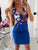 Blue Deep V-neck Floral Pocket Bodycon  Mini Dress - Hellosasa