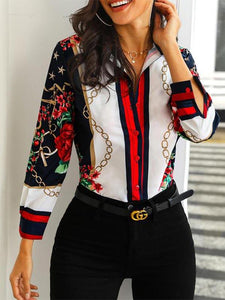 V Neck Long Sleeve 3D Print Button Casual Blouse