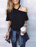 Sexy One Shoulder Plain Loose Casual T-Shirts