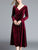 V Neck Long Sleeve Solid Color Draped Casual Velvet Midi Dress