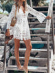 Solid Color Sexy Deep V Neck Long Sleeve Lace Loose Mini Dress