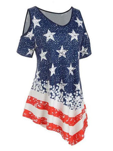 Plus Size Cold Shoulder American Flag T-shirt