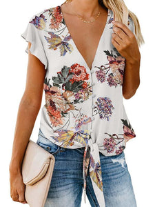 V-Neck-Floral-Print-Button-Down-Tie-Knot-Blouse-Findalls