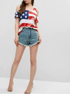 Cold Shoulder American Flag Print Tee