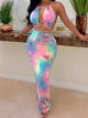 Sexy Off Shoulder Halter Tie Dye Tied Bodycon Maxi Dress