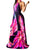 Sexy Halter Colorful 3D Print Draped Casual A Line Maxi Dress