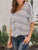 V Neck Bat sleeve Stripe Knotted Casual Blouse