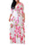 Plus Size V Neck Long Sleeve Floral Print Belt Casual A Line Maxi Dress