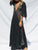 Bohemia 3/4 Sleeve V-Neck Floral Black Maxi Dress - Hellosasa