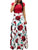 Round Neck Short Sleeve Vintage Floral Print Splicing Casual Maxi Dress