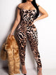 Sexy Leopard Print Off Shoulder Backless Lace Up Jumpsuit