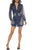 Lapel Splicing Lace Long Sleeve Frayed Hem Cutout Bodycon Mini Denim Dress
