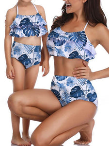 Print Mother and Daughter Two Piece Swimsuit Set