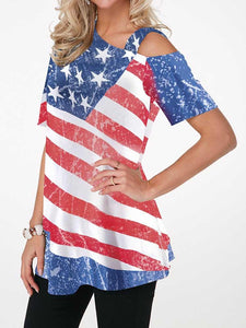 American Flag Print Striped Loose Short Sleeve T-shirt - Hellosasa