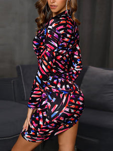 Sexy Lapel Long Sleeve 3D Print Knotted Bodycon Mini Dress