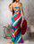 Multicolor Stripe Backless Chic Bodycon Dress