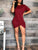 Round Neck Short Sleeve Asymmetric Hem Casual Loose Mini Dress