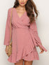 Deep V Neck Long Sleeve Polka Dot Ruffles Asymmetrical Hem Casual Mini Dress