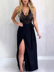 Spaghetti Strap Lace Insert Slit Maxi Dress