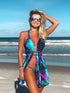Gradient Color Mermaid Scale Print Bikini Set With Cover Up