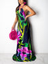 Bohemia Sexy Halter Floral Print Hollow Out Backless Casual Maxi Dress